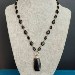 Black enamel pendant and bead necklace
